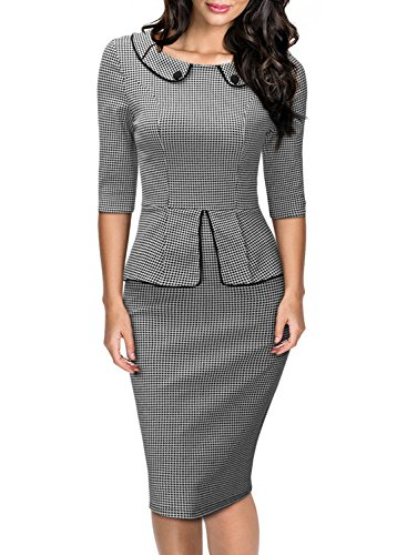 Miusol Women's Retro Neck Houndstooth-Print Peplum 1/2 Sleeve Formal Pencil Dress