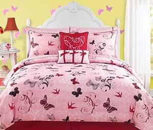 Amazon Com Pink Teen Girls Roxie Twin Comforter Set Bonus Pillows 8 Piece Bed In A Bag