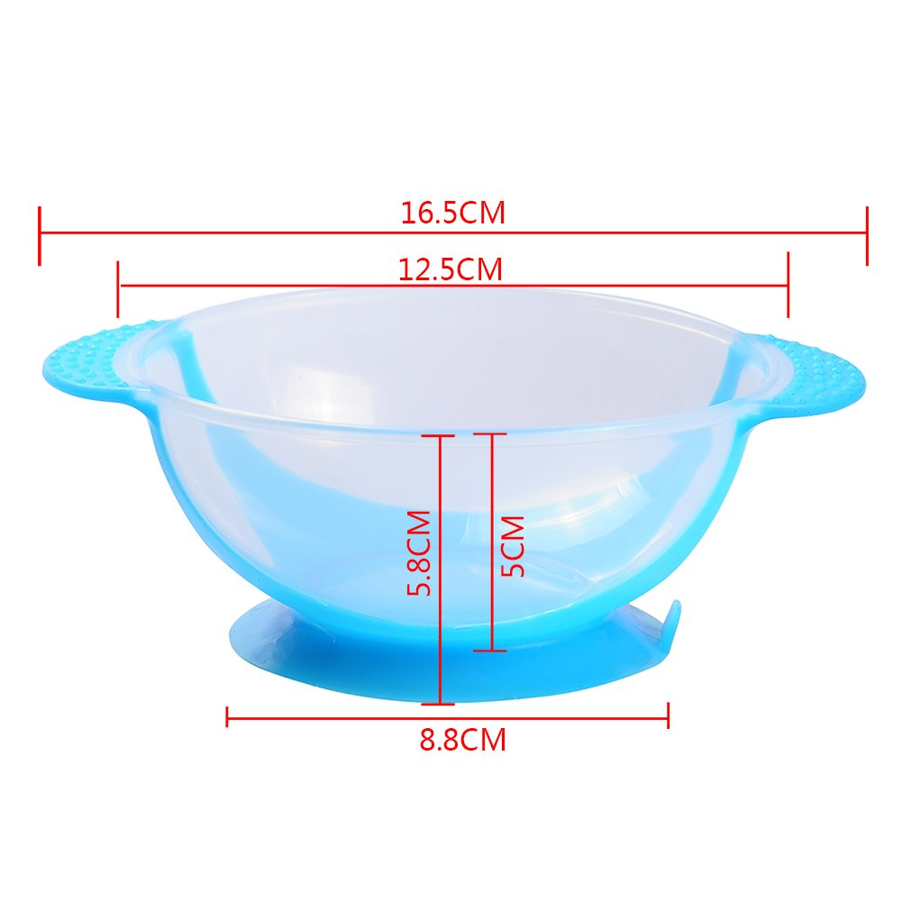 Baby Suction Bowls 2-Pack Children Training Bowl with Temperature Spoon Nonslip Spill Proof Feeding Bowls Cutlery Set for Infant Toddler