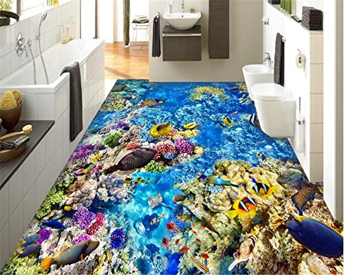Wallpaper for Bedroom Walls 3D Wallpaper Custom Large Sea Bottom Tropical Fish 3D Floor Tile Wall Waterproof Wallpaper-L300Xw200Cm