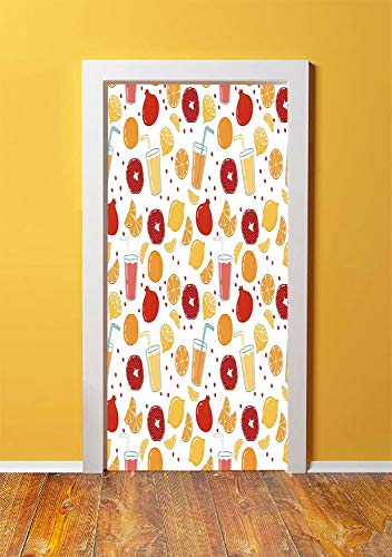 Modern 3D Door Sticker Wall Decals Mural Wallpaper,Fruits Pomegranate Orange Juice Kitchen Lemon Sweet Yummy Food Artsy Illustration,DIY Art Home Decor Poster Decoration 30.3x78.10462,Apricot Ruby (Best Space Jam Juice)