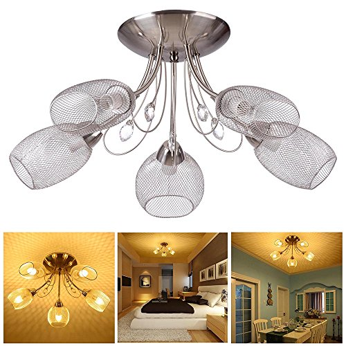 Yescom Vintage 5 Light Chandelier Crystal Cover Mesh Celling Pendant Lamp Light Fixture Review