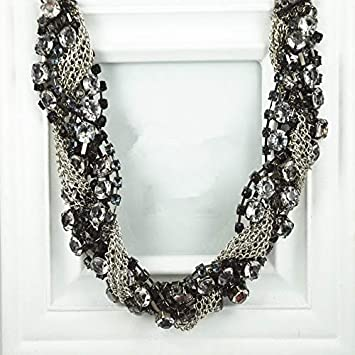 Main Stone Color: Black, Length: 45cm Davitu Dominated Fashion Personalities Hand Knitted Short Sweater Chain Creative New Exaggerated Lady Crystal Necklace