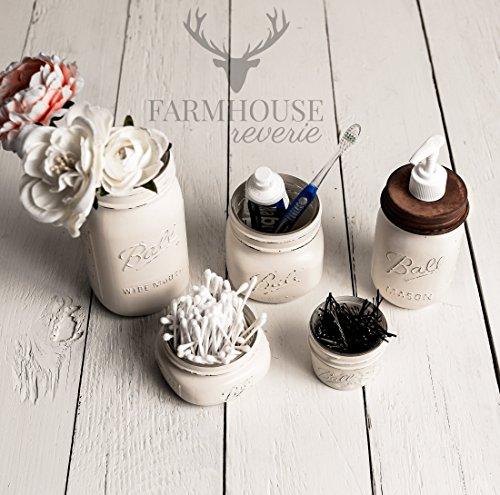 Antique White Rustic Mason Jar Bathroom Set | White Bathroom Storage Set | Farmhouse Bathroom Decor | Rustic Bathroom Decor | Vintage Decor | Rustic Kitchen Decor | Farmhouse Kitchen Decor