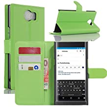 Fettion Blackberry Priv Case, Premium PU Leather Wallet Cases Flip Cover with Stand Card Holder for Blackberry Priv 2015 Smartphone (Wallet - Green)