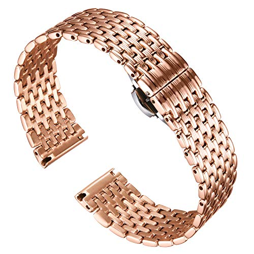 - BINLUN Thin Mesh Stainless Steel Watch Bracelets Light Replacement Watch Band Polished Strap for Men Women's Watch 12mm/14mm/16mm/18mm/20mm/22mm with Butterfly Buckle