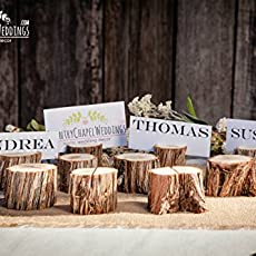 Christmas Tablescape Decor - Handmade Natural 25 Piece Wood Place Card Holders by Country Chapel Weddings