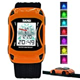 Kids Watches LED Waterproof 3D Car Silicone Children Toddler Wrist Watches Time Teacher Gift for Boys Girls Little Child Orange