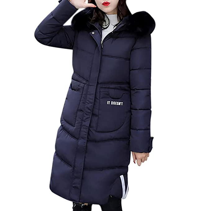 WINWINTOM Mujer Casual más gruesa de invierno Slim Down Lammy chaqueta abrigo largo abrigo Outwear (
