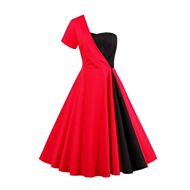 KeKeD23921 Vintage Dress for Women One Shoulder Red Dress 1950s Style Summer Dress Elegant Feminino Vestidos
