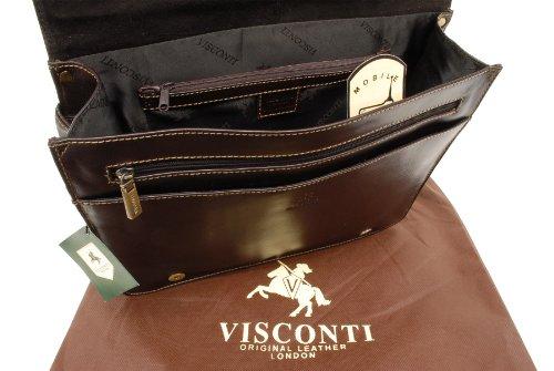 Umhängetasche/Arbeitstasche A4 aus Leder von Visconti (18548) - Größe: B: 35 H: 27,5 T: 10,5 cm Mokka Bruan