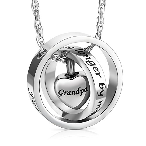 XIUDA No Longer by My Side,Forever in My Heart Carved Locket Cremation Urn Necklace for Grandpa