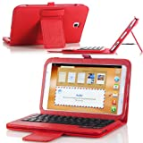 MoKo Bluetooth Keyboard Cover Case for Samsung Galaxy Note 8.0 inch GT - N5100 / N5110 Android Tablet, RED