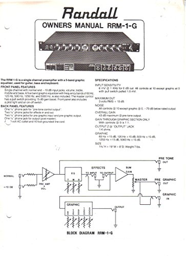 Randall Instruments RRM-1-G Single Channel Preamplifier with 5-Band Graphic Equalizer Preamp, Owner's Manual