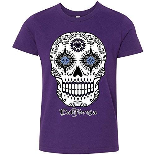 California Republic Sugar Skull Youth T-Shirt/tee - Team Purple Small ()
