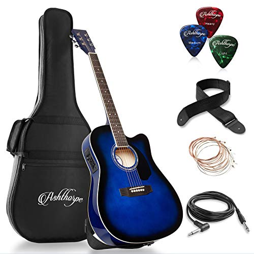 Ashthorpe Full-Size Cutaway Thinline Acoustic-Electric Guitar Package - Premium Tonewoods - Blue ()