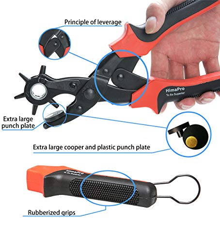 HimaPro Leather Belt Hole Punch Belt Hole Puncher Leather Hole Punch Tool Heavy Duty Rotary Puncher Revolving Belt Hole Punch Plier for Belts Saddles Watch Bands Pet Collars Paper Cardboard by HimaPro (Image #6)