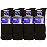 Falari Unisex Diabetic Socks Crew (12 Pairs) 9-11, 10-13, 13-15, Black, Grey, White