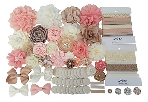 DIY Headband Kit - Peach Collection - Makes 22 Headbands Plus 3 Clips - Peach, Beige, and Ivory - Baby Shower Headband Station - Elegant Party Supplies - Baby Shower Games - Fashion Headbands -