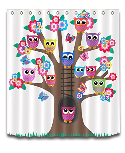 Cute Cartoon Owl Decoration Shower Curtain Polyester Fabric 3D Digital Printing 72x72 Durable Waterproof Brown Tree Flowers Colorful Big Eyes Owls Bathroom Bath Curtains ()