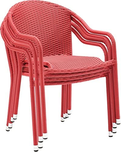 Crosley Furniture Palm Harbor Outdoor Wicker Stackable Chairs – Red Set of 4