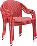 Crosley Furniture Palm Harbor Outdoor Wicker Stackable Chairs – Red (Set of 4)
