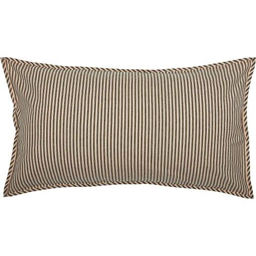 (VHC Brands Farmhouse Bedding Miller Farm Charcoal Ticking Stripe Cotton Patchwork Chambray King Sham, Dark Creme)
