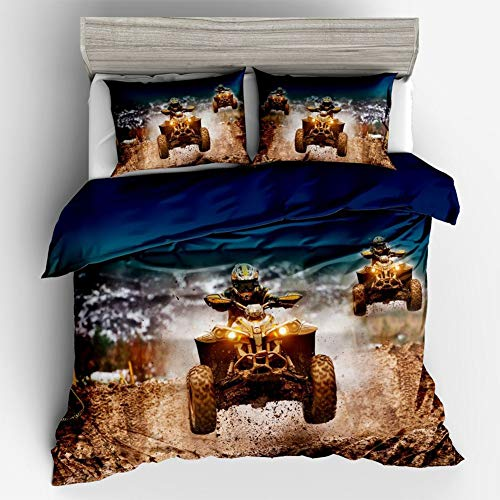 (Nbibsaacy Child Bedding Set Single Boy Creative 3D Locomotive Off-Road Motorcycle Racing Car Cartoon Duvet Cover Anti-mite, Smooth and Comfortable,b,Twin)