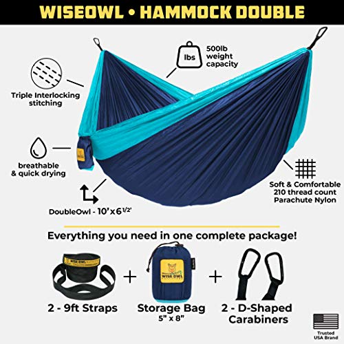 Wise Owl Outfitters Hammock for Camping Single & Double Hammocks Gear for The Outdoors Backpacking Survival or Travel – Portable Lightweight Parachute Nylon DO Navy & Lt Blue