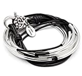 Lizzy Classic Silverplate 4 Strand Wrap Bracelet Necklace in Natural Black Leather Size Small