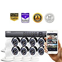 8 CH HD [Full 1080P] Security Camera System Remote iPhone Android APP HDMI Night Vision Wide Angle [1TB Purple Drive INCLUDED]