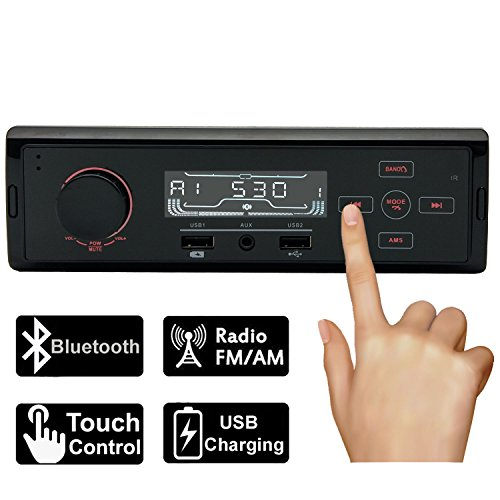 Carlike Car Stereo Audio Receiver,AM/FM Radio MP3 player,Bluetooth USB Charging/Aux in/Single Din In-Dash,Wireless Remote,Touch panel control(NO CD/DVD Player)