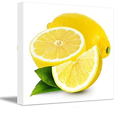 Canvas Prints Wall Art - Fresh Lemon Fruits Photograph | Modern Wall Decor/Home Decoration Stretched Gallery Canvas Wrap Giclee Print & Ready to Hang - 24