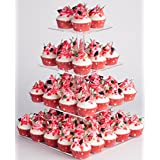 YESTBUY 4 Tier Maypole Square Wedding Party Tree Tower Acrylic Cupcake Display Stand (14.9 Inches)­