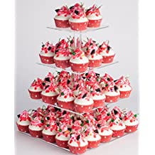 YESTBUY 4 Tier Maypole Square Wedding Party Tree Tower Acrylic Cupcake Display Stand (14.9 Inches)