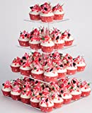 : YestBuy 4 Tier Maypole Square Wedding Party Tree Tower Acrylic Cupcake Display Stand (15.1 Inches)