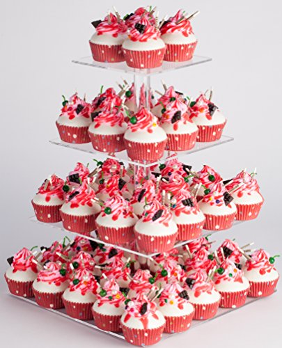 YestBuy 4 Tier Maypole Square Wedding Party Tree Tower Acrylic Cupcake Display Stand (15.1 Inches) (Cupcake Tray)