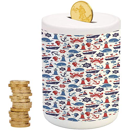 (Nautical Decor,Ceramic Child Bank,Printed Ceramic Coin Bank Money Box for Cash Saving,Steering Wheel Crab Cartoon Happy Fun Children Artwork Underwater World)