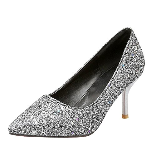 MissSaSa Damen modern high heel glitzer Pointed Toe Pumps mit Pailletten Silber