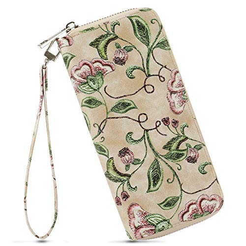 - Women's Zipper Long Clutch Purse Credit Card Wallets to Organize Your Cash,Bank Card,and Phone with Removable Wristlet Strap