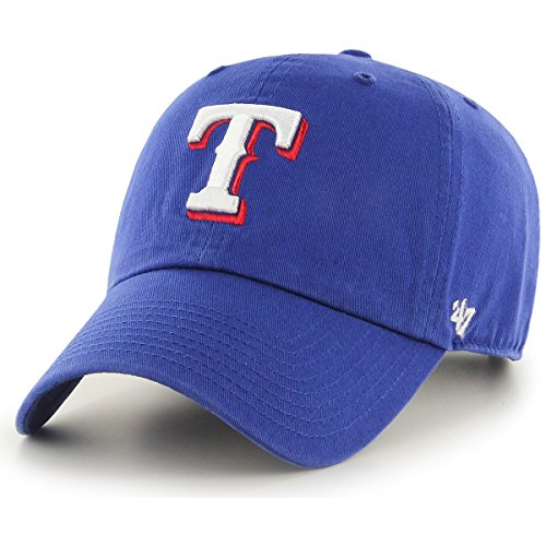 ('47 MLB Texas Rangers Clean Up Adjustable Hat, Blue, One Size)