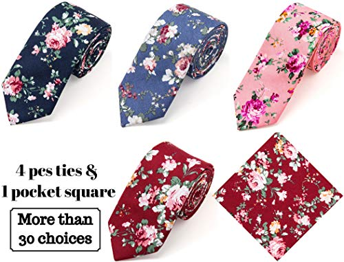 (Elzama 5-pc Cotton Skinny Floral Print Tie Pocket Square Set for Special Event, Party, Wedding)