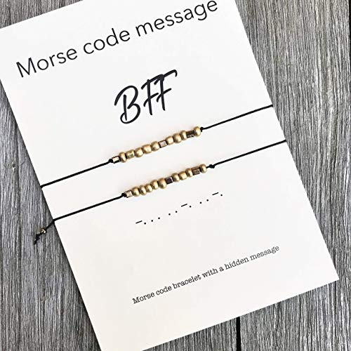 BFF morse code bracelet set of 2, Birthday gift for best friend, Bff bracelet, Best friend forever, Friendship bracelet, Friendship gift, Best friend bracelet
