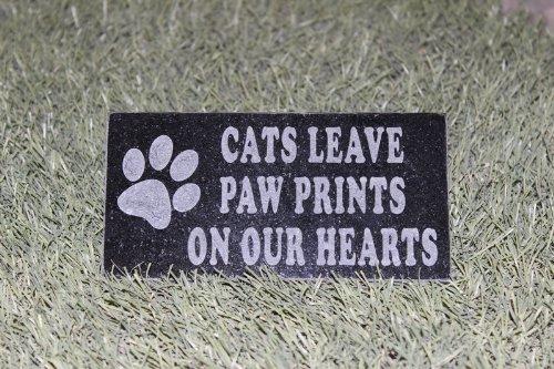 Sandblast Engraved Granite Pet Memorial Headstone Grave Marker Cat Paw 4x8