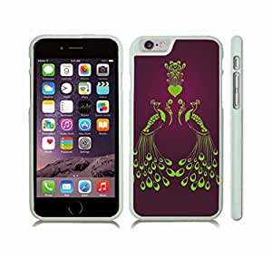 iStar Cases? iPhone 6 Plus Case with Peacocks in Love, Neon Green Peacocks and Heart with Feathers on Deep Violet Gradient , Snap-on Cover, Hard Carrying Case (White)