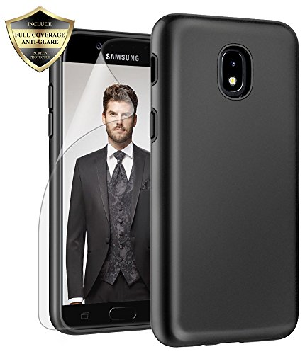 (Galaxy J3 Orbit/ J3V J3 V 3rd Gen/Express Prime 3/ J3 Star/ J3 Achieve/Amp Prime 3/ J3 Aura/Sol 3 Case, Androgate Hybrid Matte Cover Case with Screen Protector for Samsung Galaxy J3 2018, Black)