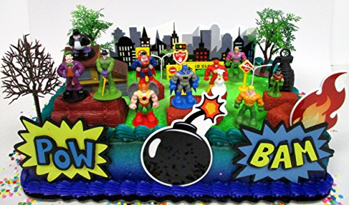 DC Comic Super Friends Birthday Cake Topper Set Featuring Super Hero Crime Fighters and Villains with Decorative Accessories