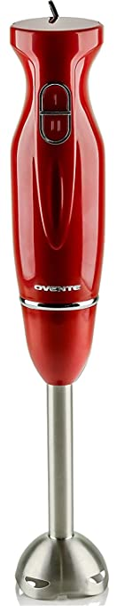 Ovente Multi-Purpose Immersion Hand Blender, 300-Watt Hand Mixer, 2 Speeds, Brushed Stainless Steel Blades and Detachable Shaft, Red (HS560R)