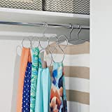 """iDesign Classico Metal 8-Loop Scarf Hanger, No Snag Closet Organization Storage Holder for Scarves, Men's Ties, Women's Shawls, Pashminas, Belts, Accessories, Clothes, 13.13"""" x .5"""" x 1.25"""", Chrome"""