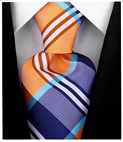 Buffalo Plaid for Men - Woven Necktie - Orange and Blue
